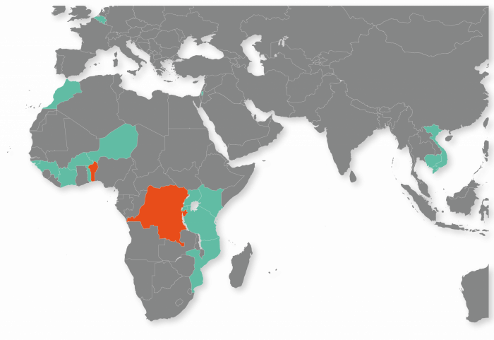 Map of the countries CEBioS has activities in